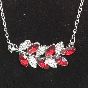 Red crystal and CZ leaf necklace